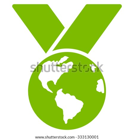 World Medal vector icon. Style is flat symbol, eco green color, rounded angles, white background.