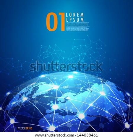World mesh digital communication and technology network, vector eps10 - stock vector