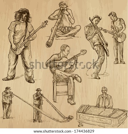 World MUSIC and MUSICIANS around the World (set no.2). Collection of hand drawn illustrations. Each drawing comprises of two layers of outlines,the colored background is isolated. - stock vector
