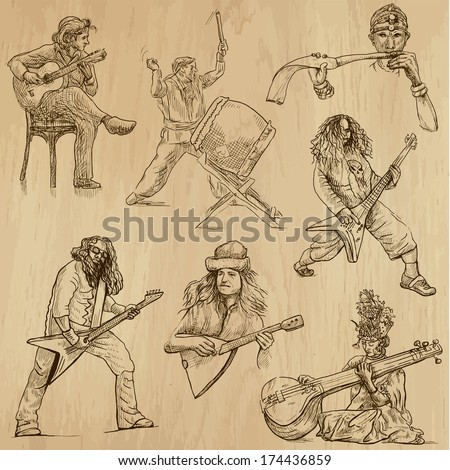 World MUSIC and MUSICIANS around the World (set no.1). Collection of hand drawn illustrations. Each drawing comprises of two layers of outlines,the colored background is isolated. - stock vector