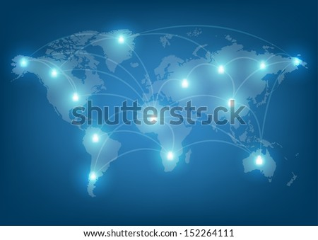 world network communication  - stock vector