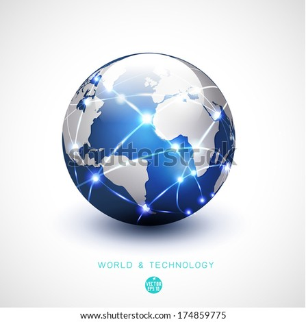 World network communication and technology isolated white background, vector illustration - stock vector