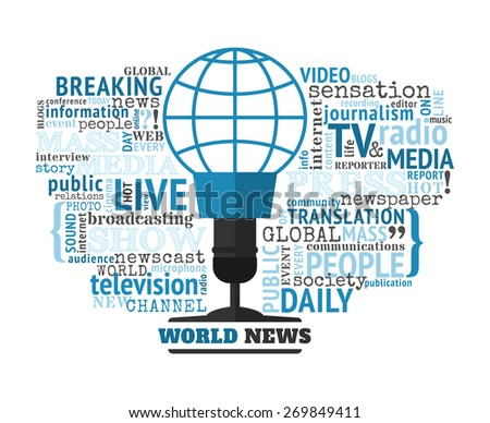 World news concept vector illustration. Mass media typographical concept with different words on this theme. World news logo looks like a microphone with the blue globe symbol. - stock vector