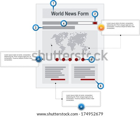 World News Internet Web Page Wireframe Structure Prototype  with pointer markers and callouts vector - stock vector