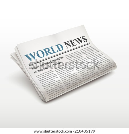 world news words on newspaper over white background - stock vector