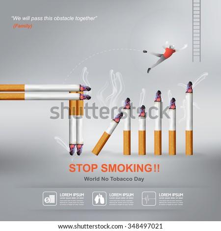 World No Tobacco Day Vector Concept Stop Smoking - stock vector