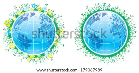 World of vegetation. Vector set of globes with plants and flowers  - stock vector
