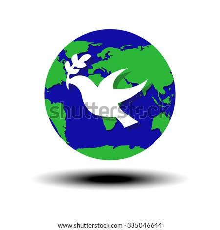 World Peace Symbol Globe White Dove Stock Photo Photo Vector