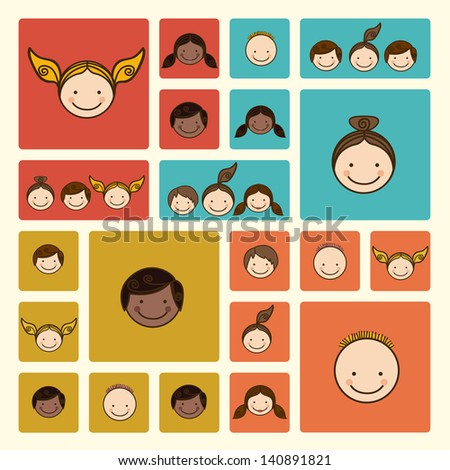 world people over cream background vector illustration - stock vector
