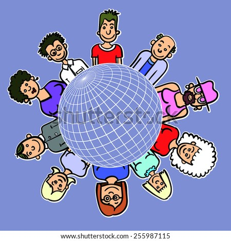 kids around the world together save the planet earth stock