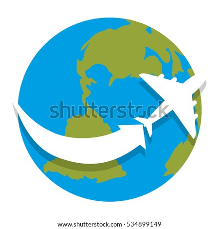 world planet earth with airplane isolated icon