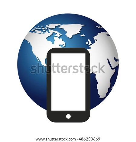 world planet with smartphone icon vector illustration design