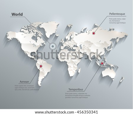 World political map 3D vector individual states separate - stock vector