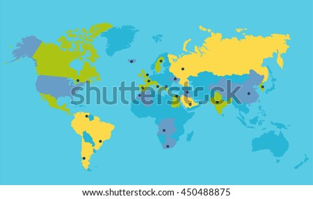 World political map vector illustration. Colored countries silhouettes with important points on the planet surface. Global world concept. World trip navigation. - stock vector