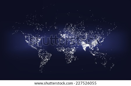World Population Density Map. Abstract illustration of world population represented with dots of various sizes. - stock vector