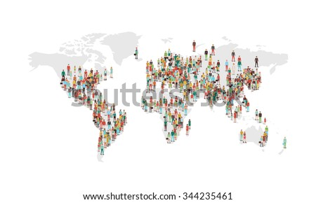 World population density map, with vector characters located in the most populated eras, white background - stock vector