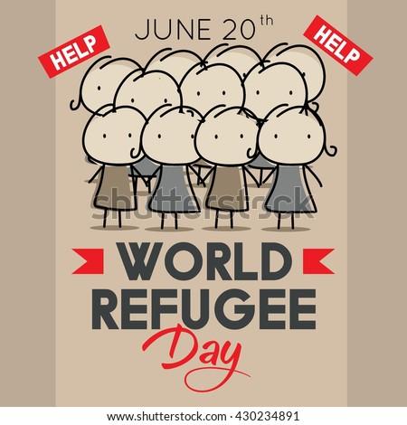 world refugee day campaign poster refugee stock vector 430234891 shutterstock. Black Bedroom Furniture Sets. Home Design Ideas