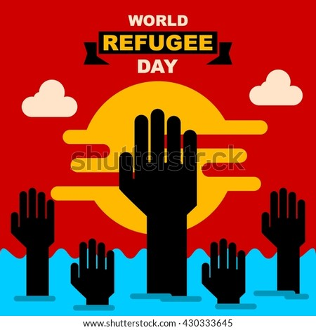 World refugee day campaign poster. Refugee awareness poster template