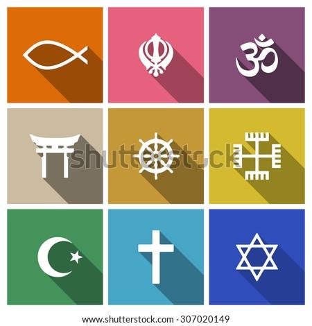 World religion symbols flat set with christian, Jewish, Islam etc - stock vector
