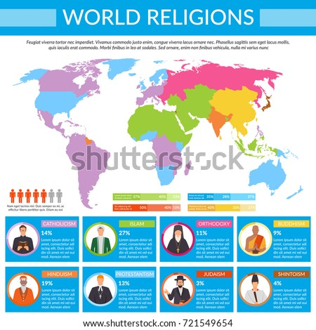 world religions infographics with colorful global map spiritual leaders on blue background man sign