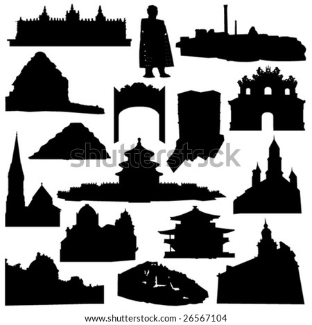 World-renowned architecture and relics silhouette - stock vector