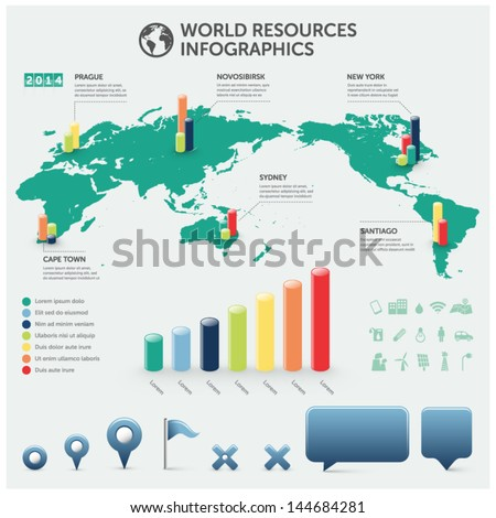 world resources infographics with icons charts and design elements - stock vector