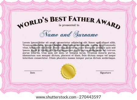 Worlds best father award certificate template stock vector 270443597 worlds best father award certificate template yadclub Gallery