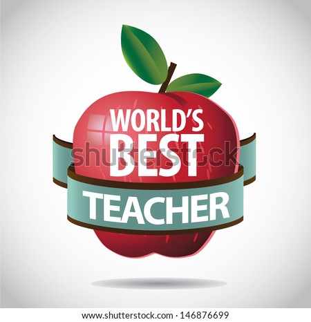 World's Best teacher apple icon symbol. EPS 10 vector, grouped for easy editing. No open shapes or paths. - stock vector