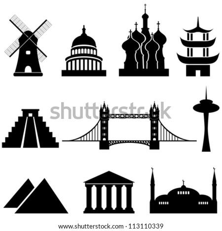 World's famous landmarks and monuments - stock vector