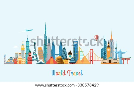 World skyline. Travel and tourism background. Vector flat illustration - stock vector