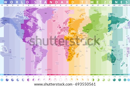 World standard time zones vector map vectores en stock 693550561 world standard time zones vector map gumiabroncs Images