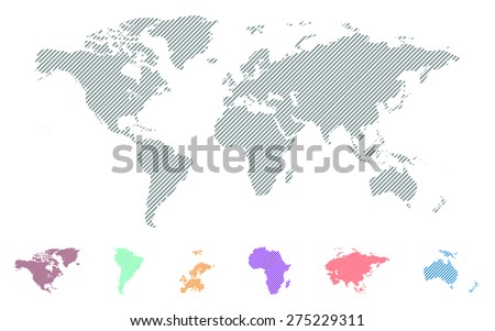 World stripes map - stock vector