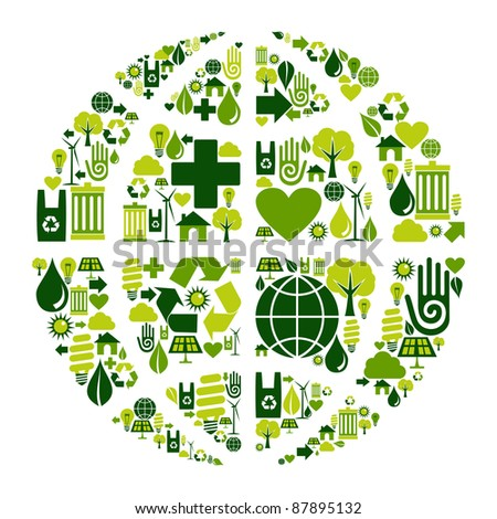 World symbol social media with environmental icons. - stock vector