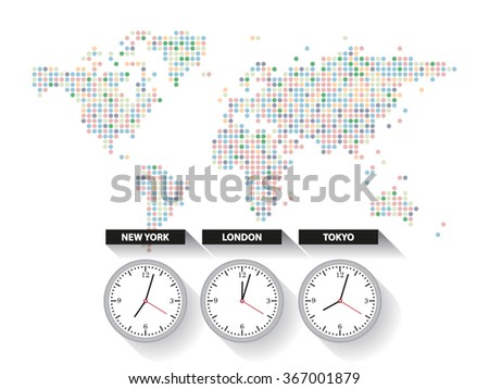 World time. Dotted world map with different time zone clocks - stock vector