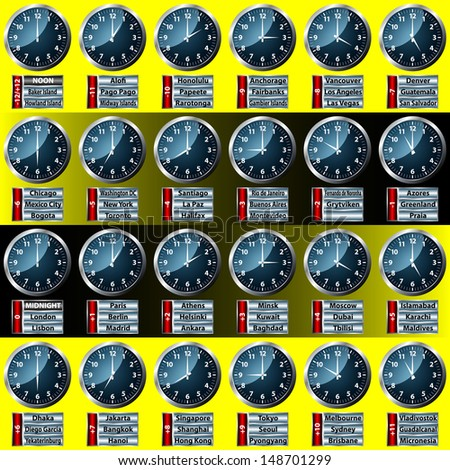 world time zone clock display - stock vector