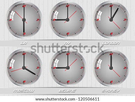 World time zones. Clocks showing the time around world - stock vector