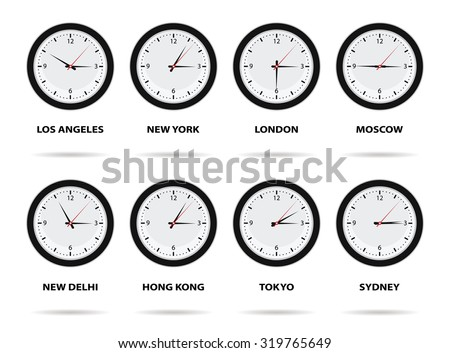 World Time Zones, eight different cities - stock vector