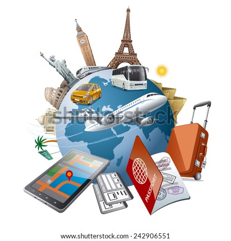 world tour - stock vector