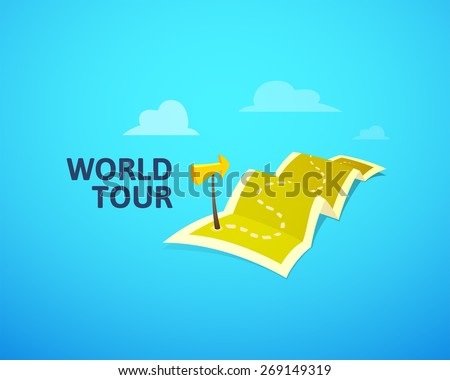World tour concept logo, long route in travel map with guide marker, vector illustration - stock vector