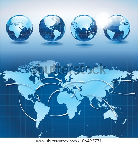 World transportation and logistics with earth globes - stock vector