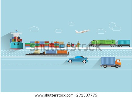 World transportation flat style  concept vector illustration. - stock vector
