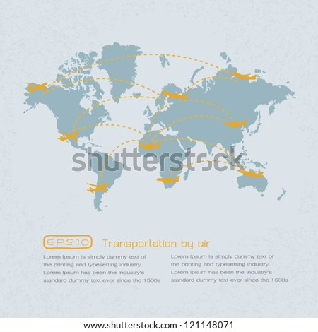 World transportation map with airplanes. eps 10 vector format - stock vector