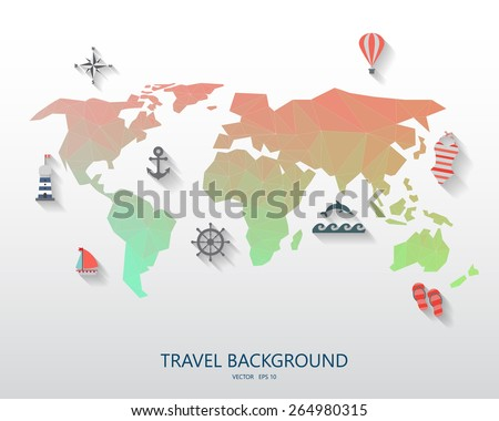 world travel background for vacation.  items are include world map low poly design and summer symbols, vector. your text can be edited - stock vector