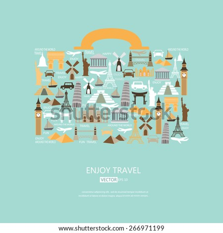 World travel background. travel icons in the form of a bag, vector - stock vector