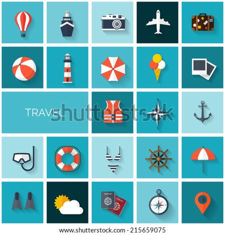 World travel concept background.  Flat icons set. Tourism concept image.Holidays and vacation.Sea, ocean, land, air travelling. - stock vector