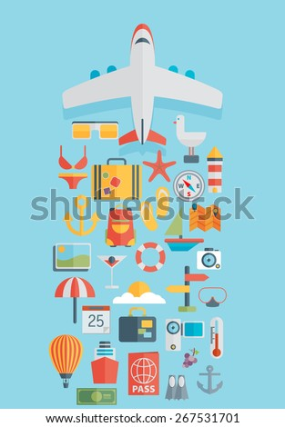 World travel concept background, plane. Flat icons. Tourism concept image.Holidays and vacation.Sea, ocean, land, air travelling. - stock vector