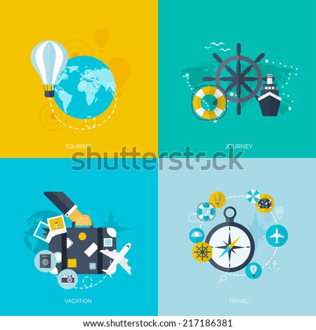 World travel concept backgrounds set.  Flat icons. Tourism concept image.Holidays and vacation.Sea, ocean, land, air travelling. - stock vector