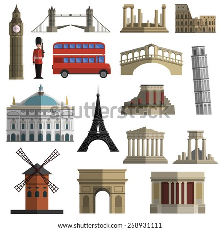 World travel historical landmarks sightseeing bus tours flat icons set with tower bridge abstract isolated  vector illustration - stock vector