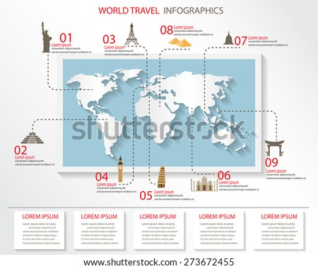 world travel infographics elements. items are included world famous landmark, can be used for workflow layout, diagram, step up options, web design. Vector illustration. - stock vector