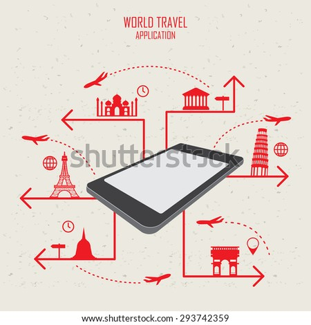 world travel landmark infographics elements and background.  mobile technology concept. Can be used for  tourism business layout, banner, diagram, web design, brochure template. vector illustration - stock vector